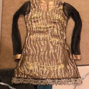 Shimmer golden and black shirt